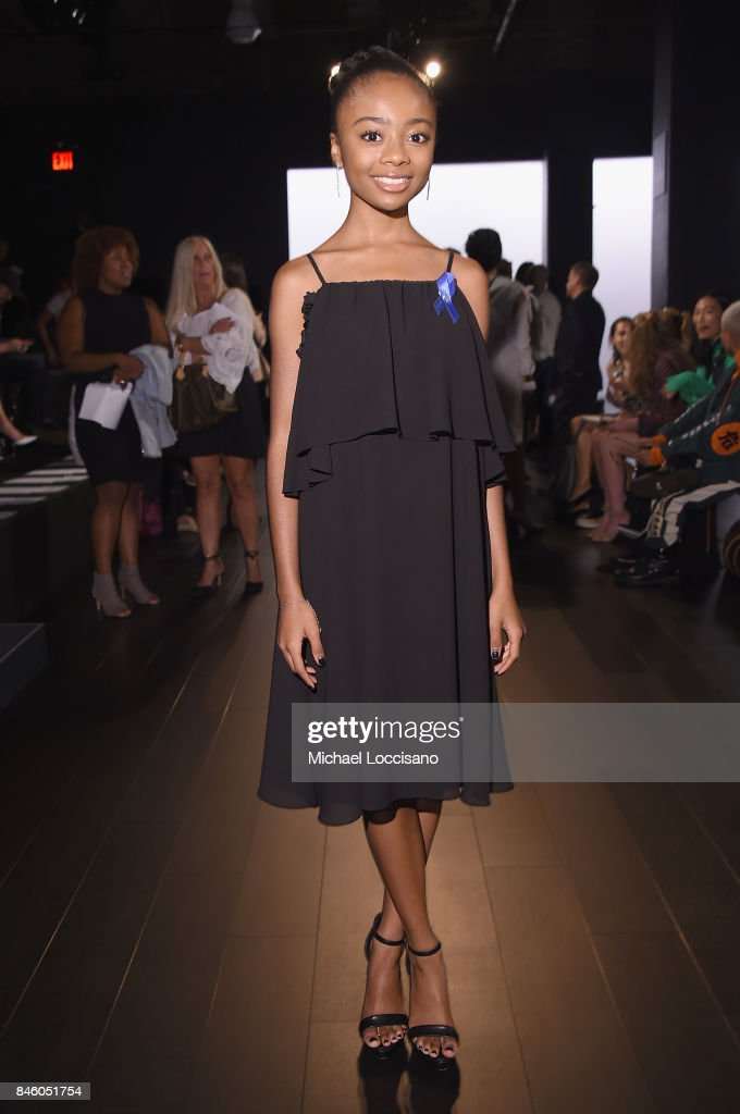 Actress Skai Jackson attends the Badgley Mischka -fashion show during September 2017 - New York Fashion Week: The Shows at Gallery 1, Skylight Clarkson Sq on September 12, 2017 in New York City.