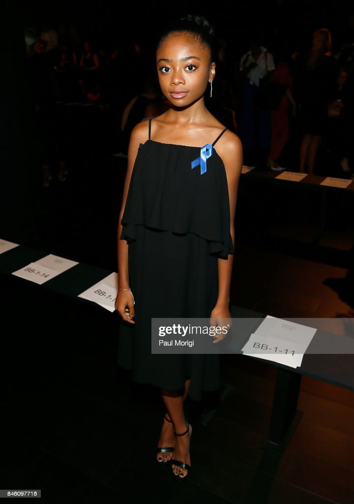 Actress Skai Jackson attends the Badgley Mischka fashion show during New York Fashion Week: The Shows at Gallery 1, Skylight Clarkson Sq on September 12, 2017 in New York City.
