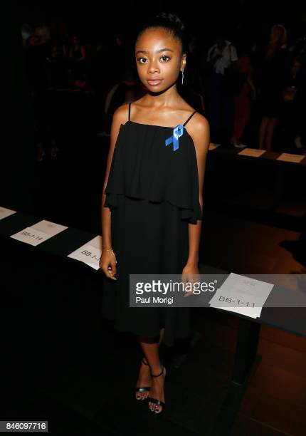 Actress Skai Jackson attends the Badgley Mischka fashion show during New York Fashion Week The Shows at Gallery 1 Skylight Clarkson Sq on September...