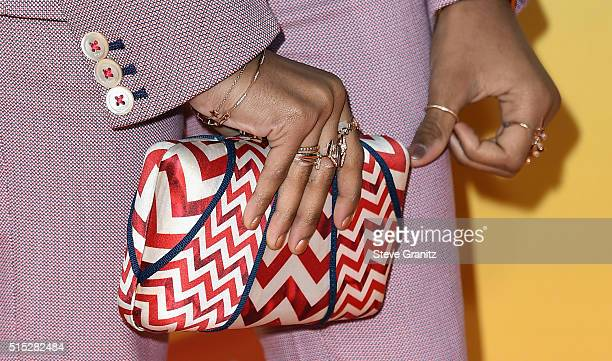 Actress Skai Jackson purse and jewelry detail attends Nickelodeon's 2016 Kids' Choice Awards at The Forum on March 12 2016 in Inglewood California