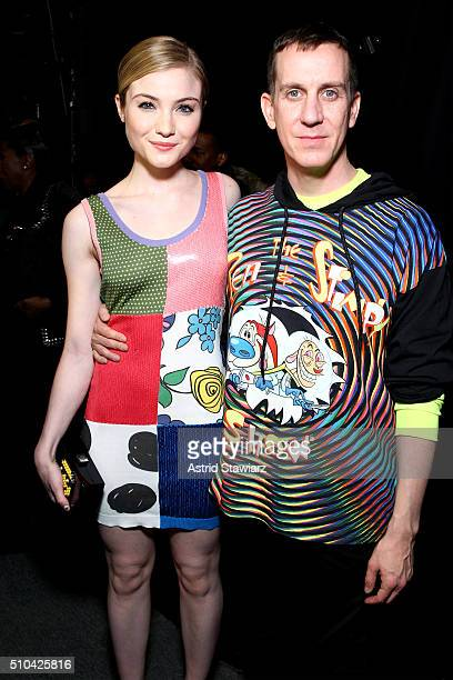 Actress Skyler Samuels and designer Jeremy Scott pose backstage at the Jeremy Scott Fall 2016 fashion show during New York Fashion Week The Shows at...