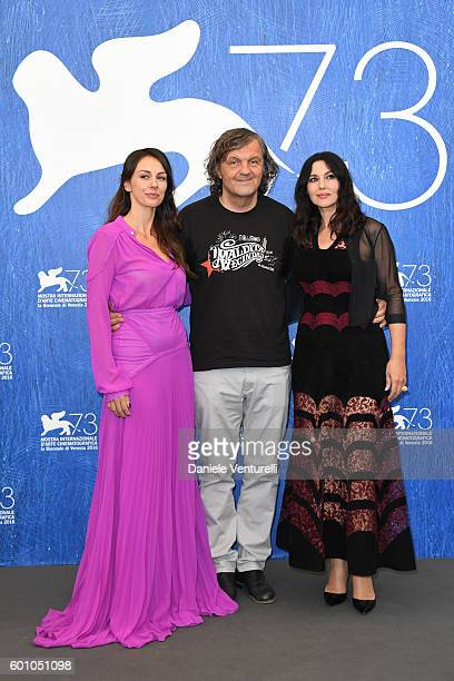 Actress Sloboda Micalovic, director Emir Kusturica and actress Monica Bellucci attend a photocall for 'On The Milky Road' during the 73rd Venice Film...