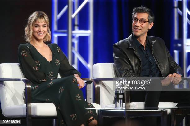 Actress Sofia Boutella and executive producer/director/cowriter Ramin Bahrani of the television show Fahrenheit 451 speak onstage during the HBO...