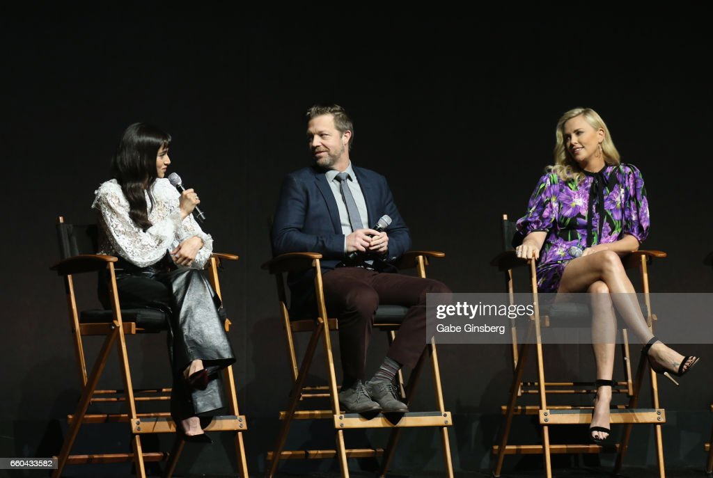 Actress Sofia Boutella, director David Leitch and actress Charlize Theron speak at the Universal Pictures' presentation during CinemaCon at The Colosseum at Caesars Palace at on March 29, 2017 in Las Vegas, United States.