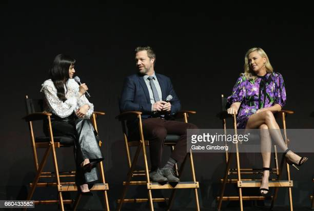 Actress Sofia Boutella director David Leitch and actress Charlize Theron speak at the Universal Pictures' presentation during CinemaCon at The...