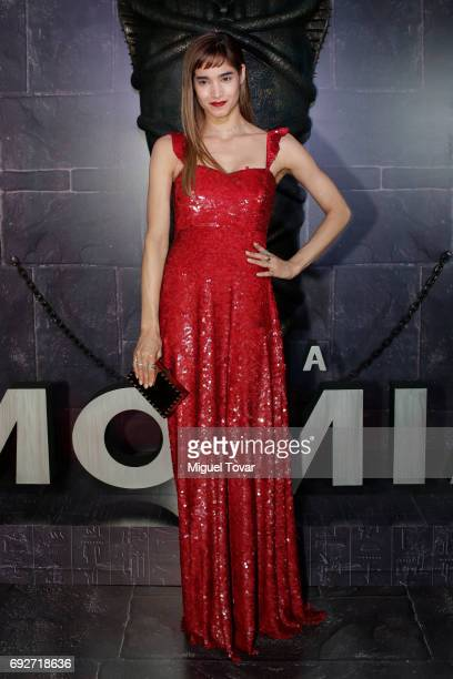 Actress Sofia Boutella poses for pictures during 'The Mummy' red carpet at Soumaya Museum on June 05 2017 in Mexico City Mexico
