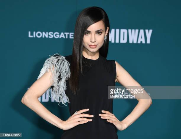 US actress Sofia Carson arrives for the premiere of Lionsgates' Midway at the Regency Village Theatre in Westwood California on November 5 2019