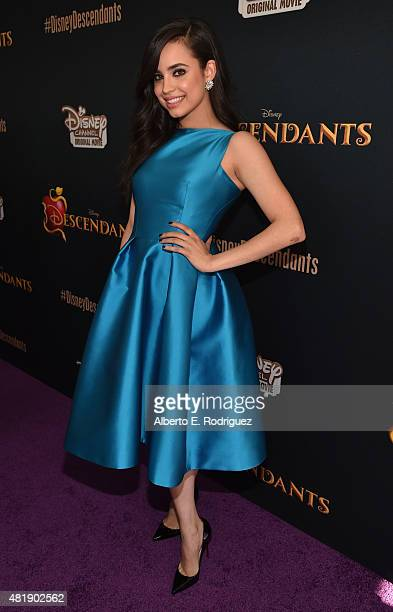 Actress Sofia Carson attends the premiere of Disney Channel's Descendants at Walt Disney Studios on July 24 2015 in Burbank California