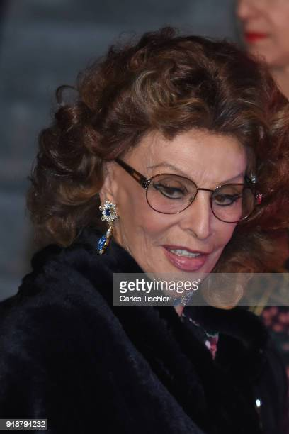 Actress Sofia Loren looks on prior the Dolce Gabbana Alta Moda and Alta Sartoria collections fashion show at Soumaya Museum on April 18 2018 in...