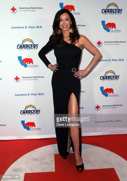Actress Sofia Milos attends the American Red Cross Annual Humanitarian Celebration to honor the Los Angeles Chargers at Skirball Cultural Center on...