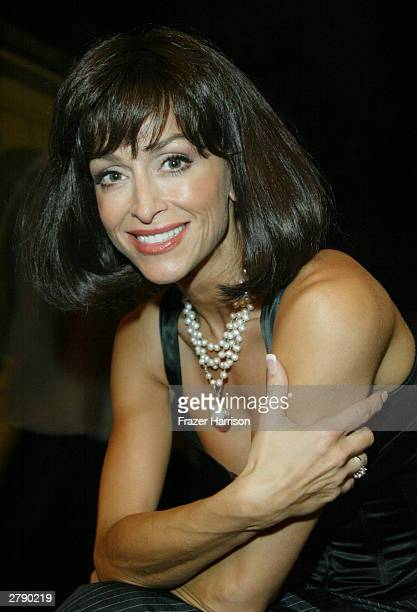 Actress Sofia Milos poses backstage at the Church of Scientology's 11th Annual Christmas Stories Fundraiser to benefit the Hollywood Police...