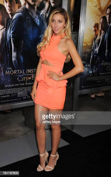Actress Sofia Sisniega arrives at the Los Angeles premiere of 'The Mortal Instruments City Of Bones' at ArcLight Cinemas Cinerama Dome on August 12...