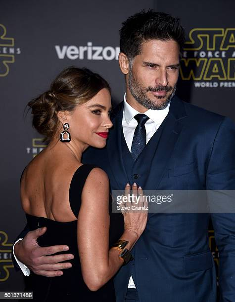 Actress Sofia Vergara and actor Joe Manganiello arrive at the premiere of Walt Disney Pictures' and Lucasfilm's 'Star Wars The Force Awakens' at the...
