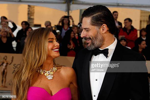 Actress Sofia Vergara and actor Joe Manganiello attend the 22nd Annual Screen Actors Guild Awards at The Shrine Auditorium on January 30 2016 in Los...