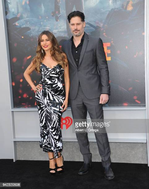 Actress Sofia Vergara and actorJoe Manganiello arrive for the Premiere Of Warner Bros Pictures' 'Rampage' held at Microsoft Theater on April 4 2018...