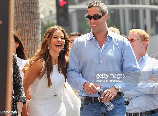 Actress Sofia Vergara and boyfriend Nick Loeb attend a ceremony honoring actor Ed O'Neill with the 2446th Star on the Hollywood Walk of Fame on...
