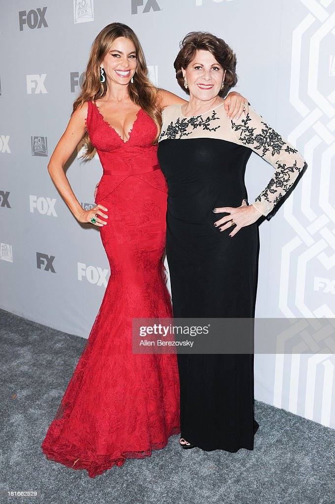 Actress Sofia Vergara (L) and her aunt attend the Fox Broadcasting, Twentieth Century Fox Television and FX 2013 Emmy nominees celebration at Soleto on September 22, 2013 in Los Angeles, California.
