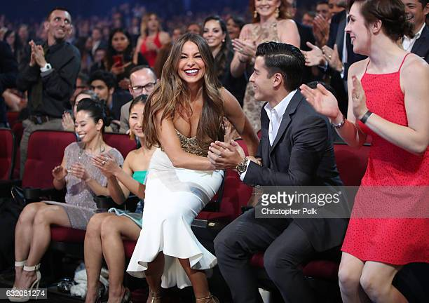 Actress Sofia Vergara and Manolo Gonzalez-Ripoll Vergara react during the People's Choice Awards 2017 at Microsoft Theater on January 18, 2017 in Los...