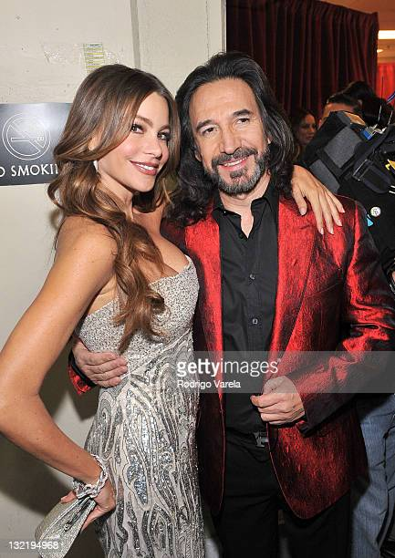 Actress Sofia Vergara and musician Joan Sebastian pose backstage at the 12th Annual Latin GRAMMY Awards held at the Mandalay Bay Events Center on...