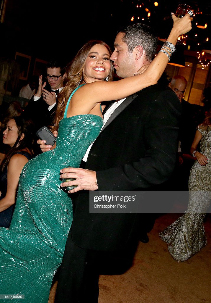Actress Sofia Vergara and Nick Loeb attend the FOX Broadcasting Company, Twentieth Century FOX Television and FX 2012 Post Emmy party at Soleto on September 23, 2012 in Los Angeles, California.