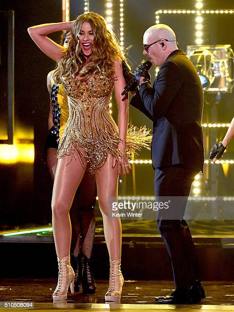 Actress Sofia Vergara and recording artist Pitbull perform onstage during The 58th GRAMMY Awards at Staples Center on February 15 2016 in Los Angeles...