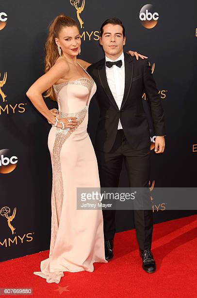 Actress Sofia Vergara and son Manolo Vergara arrive at the 68th Annual Primetime Emmy Awards at Microsoft Theater on September 18 2016 in Los Angeles...