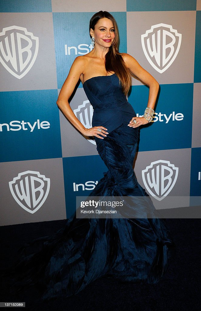 Actress Sofia Vergara arrives at 13th Annual Warner Bros. And InStyle Golden Globe Awards After Party at The Beverly Hilton hotel on January 15, 2012 in Beverly Hills, California.