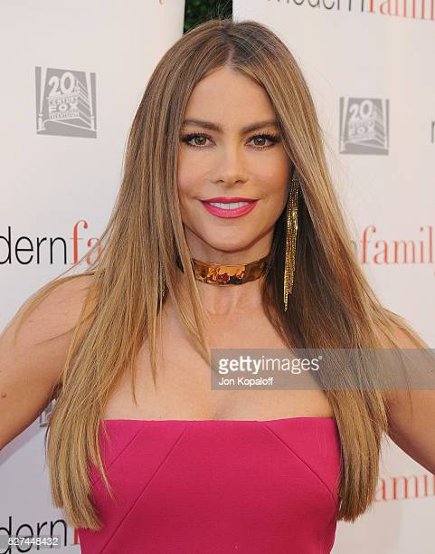 Actress Sofia Vergara arrives at ABC's 'Modern Family' ATAS Emmy Event at Fox Studios on May 2 2016 in Los Angeles California