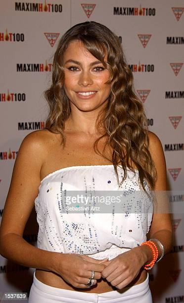 Actress Sofia Vergara arrives at Maxim's Hot100 party April 25 2002 in Los Angeles CA