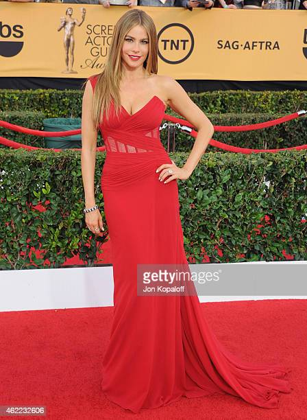 Actress Sofia Vergara arrives at the 21st Annual Screen Actors Guild Awards at The Shrine Auditorium on January 25 2015 in Los Angeles California