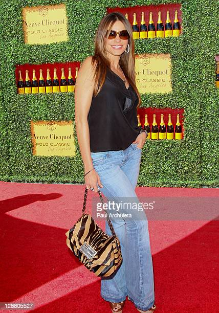Actress Sofia Vergara arrives at the 2nd annual Veuve Clicquot polo classic at Will Rogers State Historic Park on October 9, 2011 in Pacific...