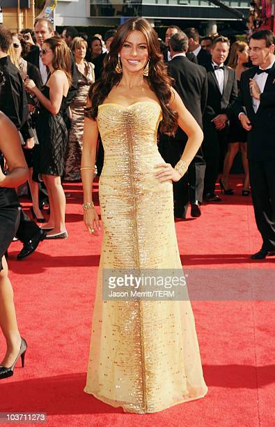 Actress Sofia Vergara arrives at the 62nd Annual Primetime Emmy Awards held at the Nokia Theatre LA Live on August 29 2010 in Los Angeles California