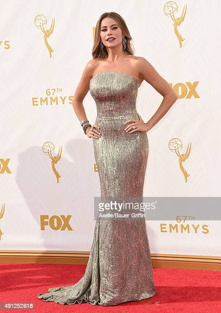 Actress Sofia Vergara arrives at the 67th Annual Primetime Emmy Awards at Microsoft Theater on September 20 2015 in Los Angeles California