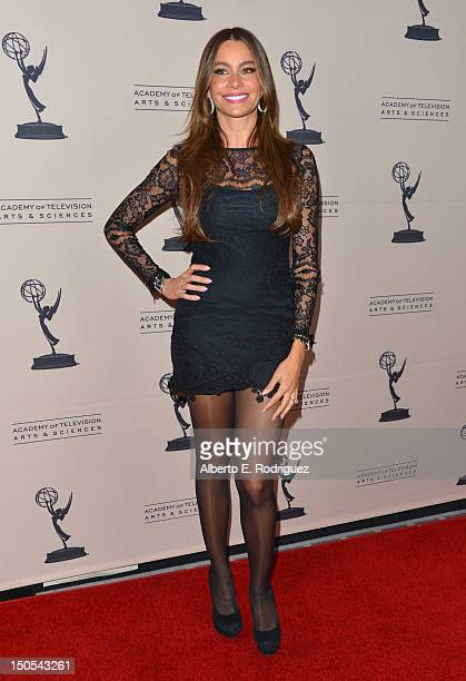 Actress Sofia Vergara arrives to the Academy of Television Arts Sciences' Performers Peer Group Cocktail Reception at the Sheraton Hotel on August 20...