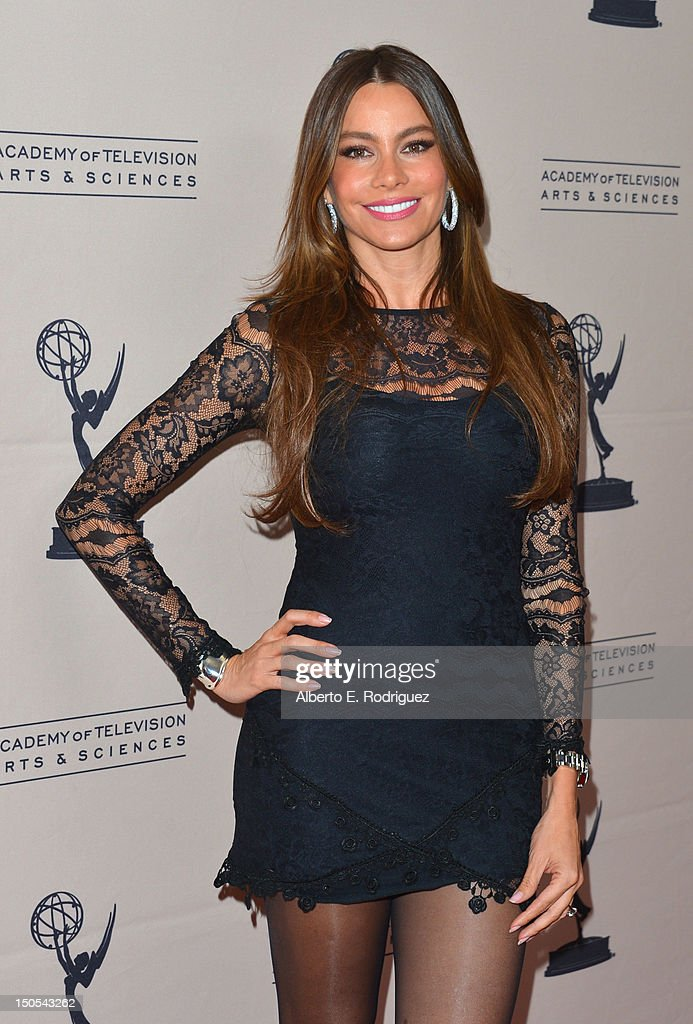 Actress Sofia Vergara arrives to the Academy of Television Arts & Sciences' Performers Peer Group Cocktail Reception at the Sheraton Hotel on August 20, 2012 in Universal City, California.