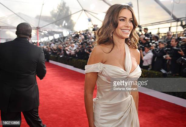 Actress Sofia Vergara attends the 19th Annual Screen Actors Guild Awards at The Shrine Auditorium on January 27 2013 in Los Angeles California...