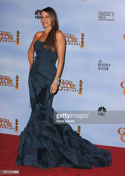 Actress Sofia Vergara poses in the press room at the 69th Annual Golden Globe Awards held at the Beverly Hilton Hotel on January 15, 2012 in Beverly...