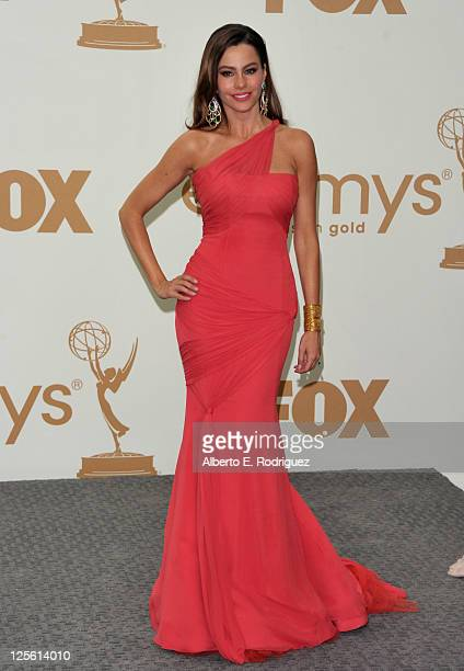 Actress Sofia Vergara poses in the press room during the 63rd Annual Primetime Emmy Awards held at Nokia Theatre LA LIVE on September 18 2011 in Los...