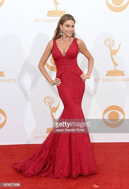 Actress Sofia Vergara poses in the press room during the 65th Annual Primetime Emmy Awards held at Nokia Theatre LA Live on September 22 2013 in Los...