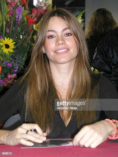 Actress Sofia Vergara signs autographs at the grand opening of Bally Total Fitness center March 23 2002 in Santa Ana CA