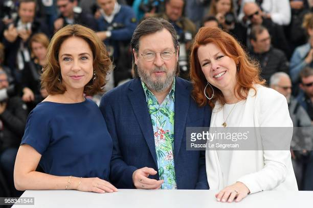 Actress Sofie Grabol director Lars von Trier and actress Siobhan Fallon Hogan attend 'The House That Jack Built' Photocall during the 71st annual...