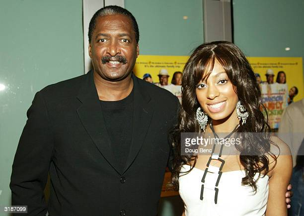 Actress Solange Knowles and her father Matthew Knowles arrive for the premier of 'Johnson Family Vacation' at the Cinerama Dome on March 31 2004 in...