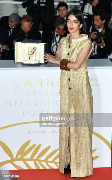 Actress Solmaz Panahi daughter of Jafar Panahi poses with the Best Screenplay prize for the film '3 Faces at the 71st Cannes Film Festival in Cannes...
