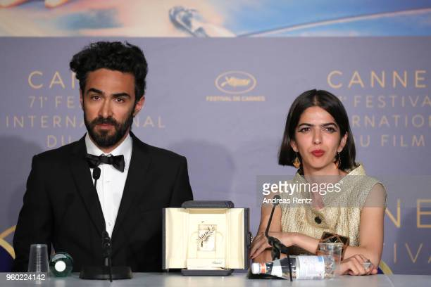 Actress Solmaz Panahi poses with the Best Screenplay award for '3 Faces at the press conference for the Palme D'Or Winner during the 71st annual...