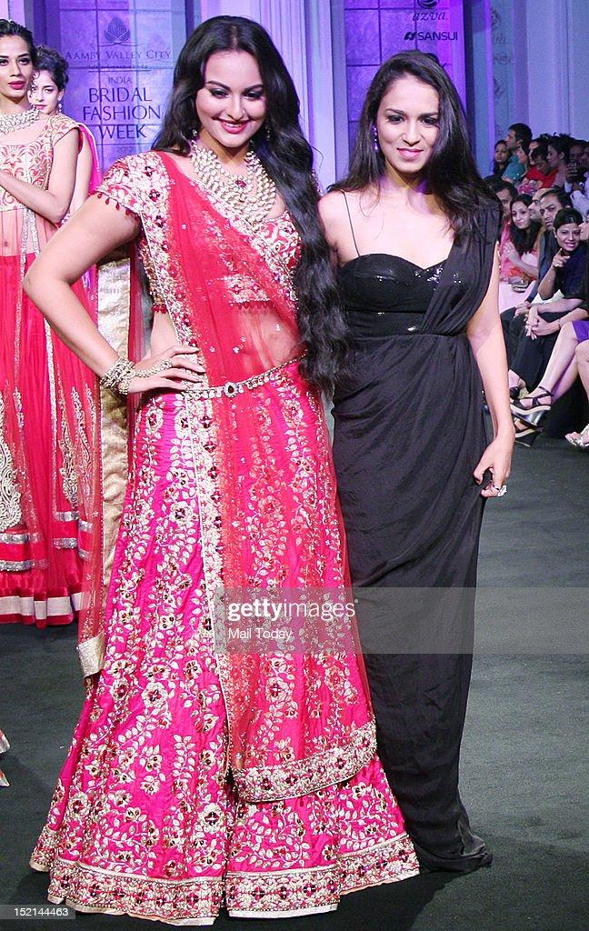 Actress Sonakshi Sinha walks the ramp for designer Jyotsna Tiwari at India Bridal Fashion Week being held in Mumbai