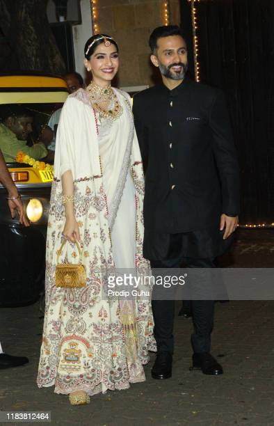 Actress Sonam Kapoor and her husband Anand Ahuja attend the meet with Media and distributed sweets for Diwali Celebration on October 27 2019 in...