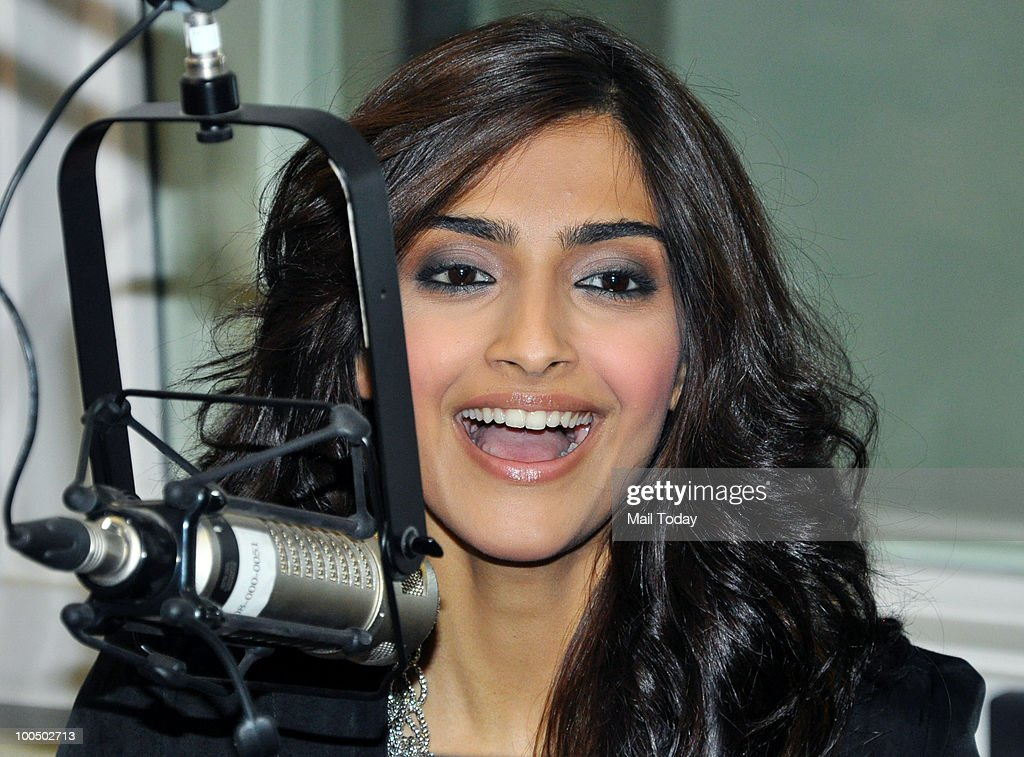 Actress Sonam Kapoor at a radio station for a promotional event in Mumbai on May 24, 2010.