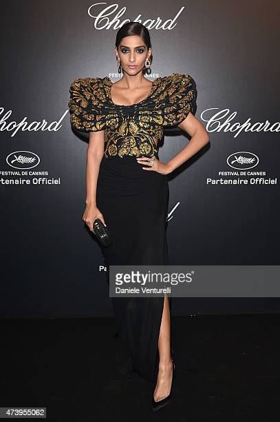 Actress Sonam Kapoor attends a celebrity party during the 68th annual Cannes Film Festival on May 18 2015 in Cannes France
