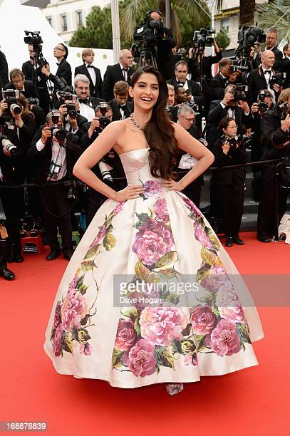 Actress Sonam Kapoor attends the 'Jeune & Jolie' premiere during The 66th Annual Cannes Film Festival at the Palais des Festivals on May 16, 2013 in...