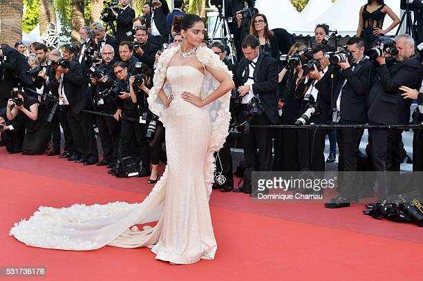 Actress Sonam Kapoor attends the Loving premiere during the 69th annual Cannes Film Festival at the Palais des Festivals on May 16 2016 in Cannes...
